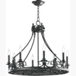 "Lorenco Family 8-Light 27"" Spanish Silver Twisted Iron Chandelier 6093-8-50"