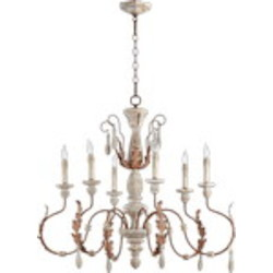 "La Maison Family 35"" Manchester Grey w/ Rust Accents Chandelier 6152-6-56"