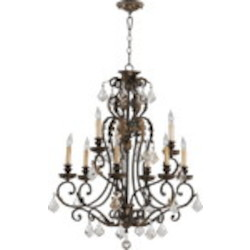 "Rio Salado Family 32"" Toasted Sienna With Mystic Silver Chandelier 6157-9-44"