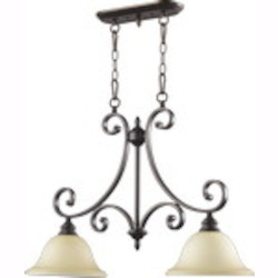 "Bryant Family 2-Light 29"" Oiled Bronze Island Light with Amber Scavo Glass 6554-2-86"