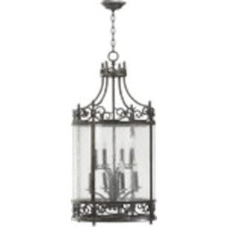 "Lorenco Family 8-Light 36"" Spanish Silver Twisted Iron Lantern with Water Glass 6793-8-50"