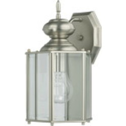 "Lantern Family 1-Light 12"" Satin Nickel Outdoor Lantern 717-65"