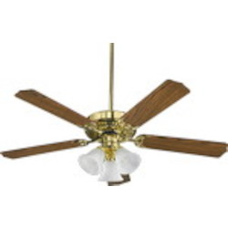 "Capri VI Family 52"" Polished Brass Ceiling Fan with Light Kit 77525-1602"