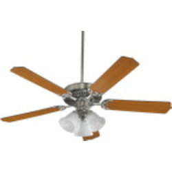 "Capri VI Family 52"" Satin Nickel Ceiling Fan with Light Kit 77525-1665"