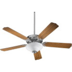 "Capri III Family 52"" Satin Nickel Ceiling Fan with Light Kit 77525-9565"