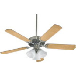 "Capri VI Family 52"" Satin Nickel Ceiling Fan with Light Kit 7752516656"