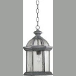 "Stelton Family 1-Light 11"" Rustic Silver Outdoor Hanging Lantern 7815-72"