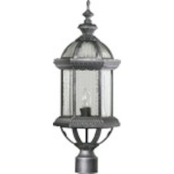"Stelton Family 1-Light 24"" Rustic Silver Outdoor Post Lantern 7816-72"
