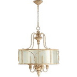 "Salento Series 4-Light 27"" Persian White Chandelier with Translucent Drum Shade 8006-4-70"
