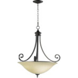 "Bryant Family 4-Light 29"" Oiled Bronze Pendant with Amber Scavo Glass 8154-4-86"
