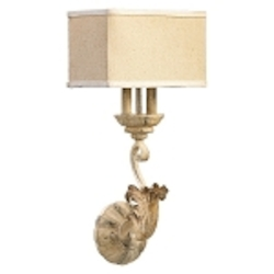 "Florence Collection 2-Light 22"" Persian White Wall Sconce with Beige Linen Shade 5237-2-70"