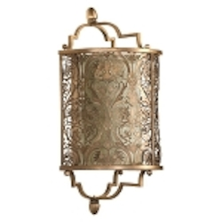 "French Damask 1-Light 15"" Vintage Pewter Wall Sconce 5597-18"