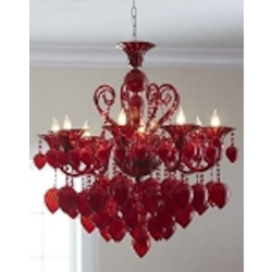 "Bella Vetro 8-Light 36"" Red Blown Glass Chianti Chandelier 04617"