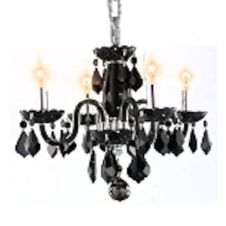 "Rococo Collection 4-Light 15"" Glossy Black Glass Crystal Mini Chandelier 7804D15B-JT/RC"