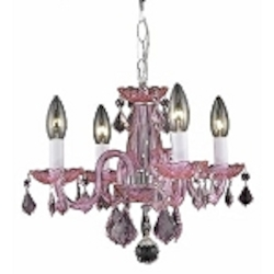 "Rococo Collection 4-Light 15"" Pink Rosaline Crystal Mini Chandelier 7804D15PK-RO"