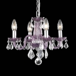"Rococo Collection 4-Light 15"" Purple Glass Mini Chandelier with Crystal 7804D15PE/RC"
