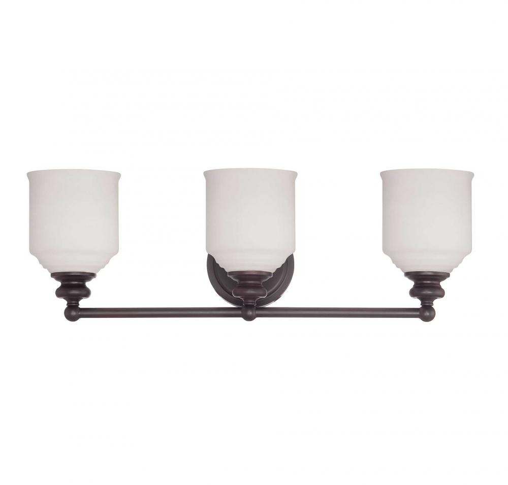 Bronze Vanity Lights With Clear Glass : Three Light English Bronze White Opal Etched Glass Vanity - Savoy House 8-6836-3-13
