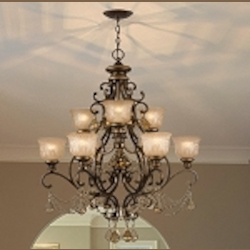 "Norwalk Collection 9-Light 34"" Bronze Umber Chandelier with Golden Teak Swarovski Elements Crystal 7509-BU-GTS"