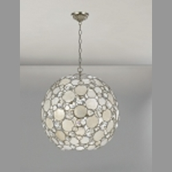"Palla Collection 6-Light 22"" Antique Silver Chandelier with Natural White Capiz Shell and Hand Cut Crystal 529-SA"
