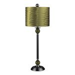 Metal Buffet Lamp With Pleated Green Shade 111-1115