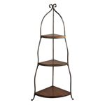3 Tier Blackened Iron With Light Mahogany Corner Shelf 125-037