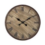 Roman Numeral Antique Washed Wood With Bronze Highlight Outdoor Wall Clock 128-1007
