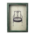 Distressed Verde Picture Frame With French Antique Chair Print 128-1027