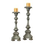 Florintine Carved Alston Grey Candleholder 93-9145