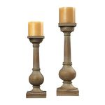 Set of Two Bleached Wood Post Candleholders 93-9249