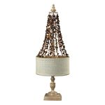 Bleached Wood And Dark Shell Hanging Lamp 93-9251