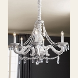"Sutton Collection 6-Light 28"" Antique White Chandelier with Hand Polished Crystal 5026-AW-CL-MWP"