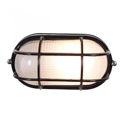 Nauticus Collection 1-Light Black Outdoor Bulkhead Fixture with Frosted Glass 20292-BL/FST
