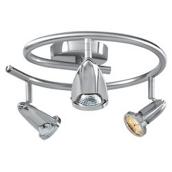 Brushed Steel Cobra 3 Light Semi-Flush Ceiling Fixture