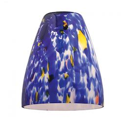Blue  Single Pendant Cone Glass Shade from the Fire Collection - 103484