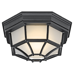 Black (painted) Single Light Down Lighting Fluorescent Outdoor Ceiling Fixture