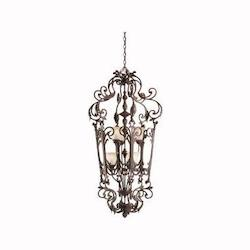 Carre Bronze Wilton 6-Bulb Indoor Pendant with Bell-Shaped Glass Shade