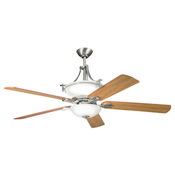 Antique Pewter Olympia 60in. Indoor Ceiling Fan with 5 Blades - Includes Light Kit , 6in. and 12in. Downrods