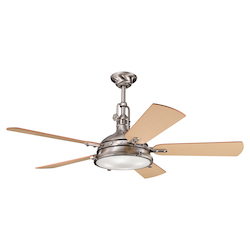Brushed Stainless Steel 56in. Indoor Ceiling Fan with 5 Blades - Includes Cool-Touch Remote, Light Kit and 12in. Downrod