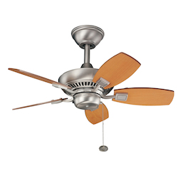 Brushed Nickel Canfield 30in. Outdoor Ceiling Fan with 5 Blades - Includes 6in. Downrod