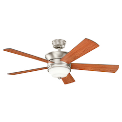 Brushed Nickel Hendrik 52in. Indoor Ceiling Fan with 5 Blades - Includes Cool-Touch Remote, Light Kit and 12in. Downrod