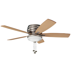 Brushed Nickel Windham 52in. Outdoor Flush Mount Ceiling Fan with 5 Blades - Includes Light Kit