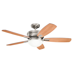 Antique Pewter 52in. Indoor Ceiling Fan with 5 Blades - Includes Cool-Touch Remote, Light Kit and 4in. Downrod