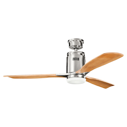 Brushed Stainless Steel W/ Medium Oak Stain Blades Ridley 52in. Indoor Ceiling Fan with 3 Blades - Includes Cool-Touch Remote, Light Kit and 4.5in. Downrod