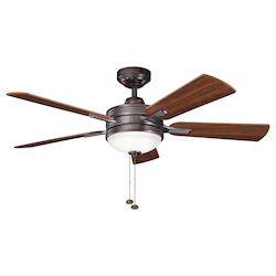 Oil Brushed Bronze W/ Walnut/medium Cherry Blades Logan 52in. Indoor Ceiling Fan with 5 Blades - Includes Light Kit and 4.5in. Downrod