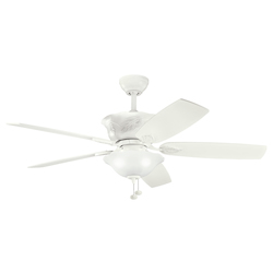 Satin Natural White With Satin Natural White Tolkin 52in. Indoor Ceiling Fan with 5 Blades - Includes Light Kit and 6in. Downrod