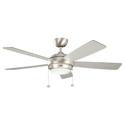 Brushed Nickel Starkk 52in. Indoor Ceiling Fan with 5 Blades - Includes Light Kit and 41/2in. Downrod
