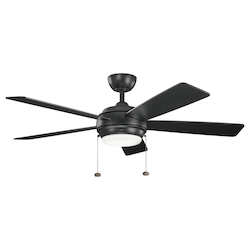 One Light Satin Black Ceiling Fan - 105957