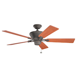 Olde Bronze Circolo 52in. Indoor Ceiling Fan with 5 Blades - Includes 4in. and 12in. Downrods