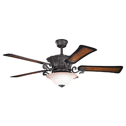 Kichler Two Light Distressed Black Ceiling Fan - 300207DBK