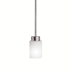 Brushed Nickel Modena Single-Bulb Indoor Pendant with Cylindrical Glass Shade